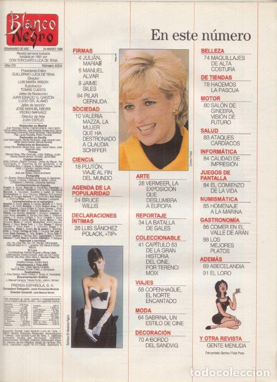 Coleccionismo de Revista Blanco y Negro: REVISTA BLANCO Y NEGRO Nº 4004. AÑO 1996. VALERIA MAZZA. CARLOS Y DIANA. WERMEER. - Foto 2 - 277145298