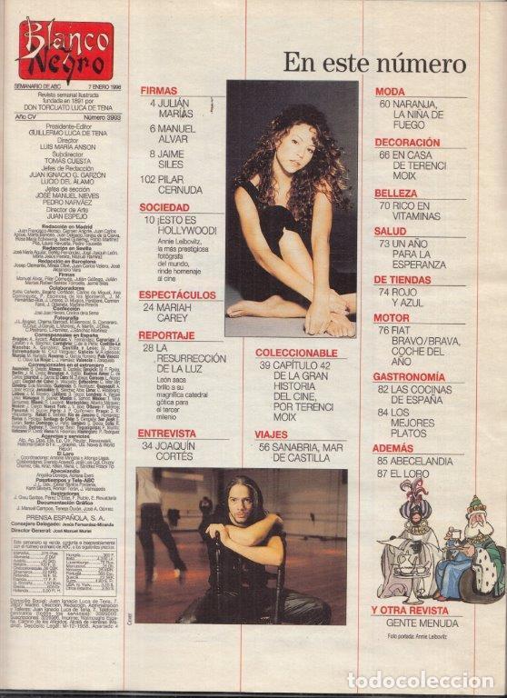 Coleccionismo de Revista Blanco y Negro: REVISTA BLANCO Y NEGRO Nº 3993 AÑO AÑO 1996. ¿ESTO E HOLLYWOOD!. JOAQUÍN CORTES. MARIAH CAREY. - Foto 2 - 277148898