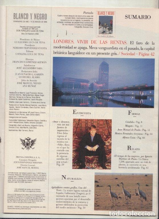 Coleccionismo de Revista Blanco y Negro: REVISTA BLANCO Y NEGRO Nº 4159AÑO 1999. ELTON JOHN. LONDRES VIVIR DE LAS RENTAS. CENTROAMÉRICA. - Foto 2 - 289332553