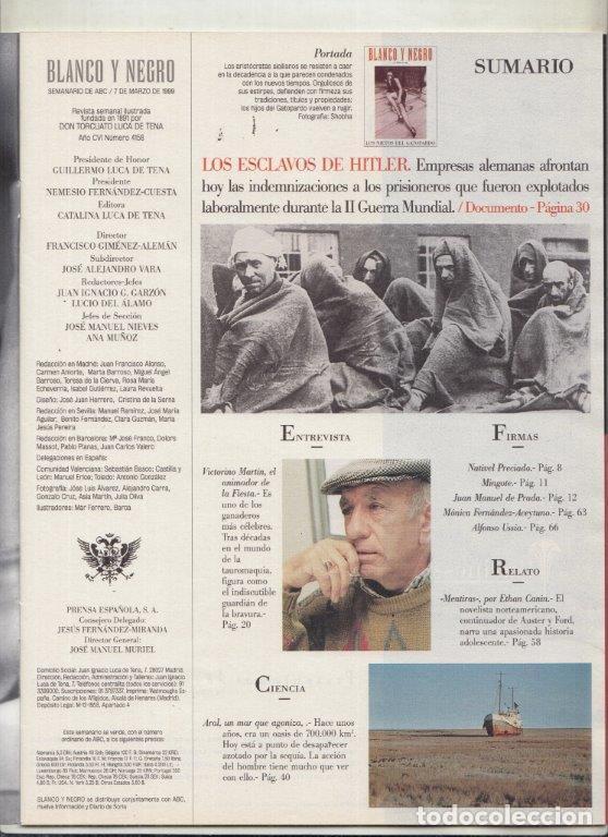 Coleccionismo de Revista Blanco y Negro: REVISTA BLANCO Y NEGRO Nº 4158 AÑO 1999. VICTORIONO MARTÍN. LOS NIETOS DE GATOPARDO. - Foto 2 - 289332858