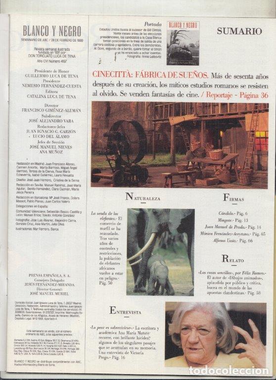 Coleccionismo de Revista Blanco y Negro: REVISTA BLANCO Y NEGRO Nº 4157 AÑO 1999. ANA MARÍA MATUTE. CINECITTA: FÁBRICA DE SUEÑOS. AL GORE. - Foto 2 - 289333558