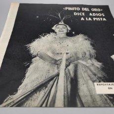 Coleccionismo de Revista Blanco y Negro: PINITO DEL ORO DICE ADIOS A LA PISTA. DIEZ AÑOS ENTRE LA VIDA Y LA MUERTE. 1960. Lote 289490513