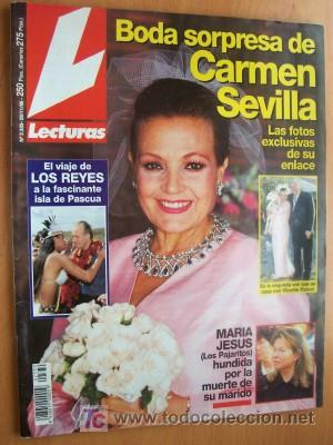 LECTURA Nº2330 FECHA 29/11/96 EN PORTADA- BODA SORPRESA DE CARMEN SEVILLA ((9 PÁGINAS) (Coleccionismo - Revistas y Periódicos Modernos (a partir de 1.940) - Revista Cambio 16)