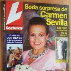 Coleccionismo de Revista Cambio 16: LECTURA Nº2330 FECHA 29/11/96 EN PORTADA- BODA SORPRESA DE CARMEN SEVILLA ((9 PÁGINAS). Lote 16979723