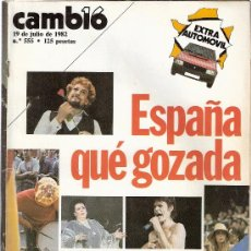Coleccionismo de Revista Cambio 16: REVISTA CAMBIO 16 - Nº 555 - 1982 - MUNDIAL ESPAÑA 82 - ROLLING STONES - EXTRA AUTOMOVIL -. Lote 25022205