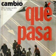 Coleccionismo de Revista Cambio 16: CAMBIO 16 Nº 202 - QUE PASA - 20/26.10.1975. Lote 20741911