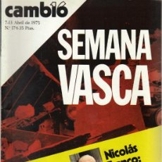 Coleccionismo de Revista Cambio 16: CAMBIO 16 Nº 174 - SEMANA VASCA - 7/13.04.1975. Lote 20040334