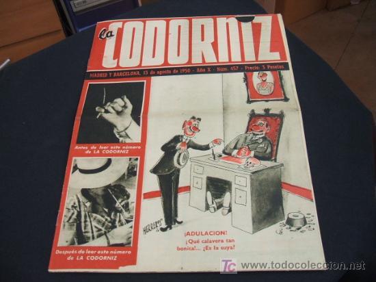 REVISTA LA CODORNIZ - Nº 457 - 13 AGOSTO 1.950 - (Coleccionismo - Revistas y Periódicos Modernos (a partir de 1.940) - Revista Cambio 16)