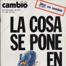 Coleccionismo de Revista Cambio 16: REVISTA CAMBIO16.- Nº 209.- LA COSA SE PONE EN MARCHA.- AÑO 1975.-. Lote 20067118