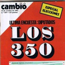 Coleccionismo de Revista Cambio 16: REVISTA CAMBIO 16 - Nº 569 - 22 OCTUBRE 1982 - ESPECIAL ELECCIONES. Lote 26671522