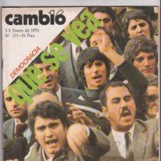Coleccionismo de Revista Cambio 16: CAMBIO 16 Nº 213 ENERO DE 1976 DEMOCRACIA QUE SE VEA . Lote 34330193