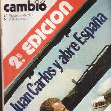 Coleccionismo de Revista Cambio 16: CAMBIO 16 , 1/7 DICIEMBRE 1975 JUAN CARLOS Y ABRE ESPAÑA ( REVISTA DE LA TRANSICION ). Lote 44222035
