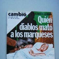 Collezionismo di Rivista Cambio 16: REVISTA CAMBIO 16 Nº 605-AÑO 1983: EL CRIMEN DE LOS URQUIJO-MICÓ EN LA CARCEL-ONETO-CARO BAROJA. Lote 46948202