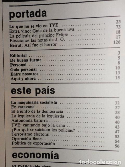Coleccionismo de Revista Cambio 16: CAMBIO 16 ,Nº 566 , AÑO 1982 - EL TRIUNFO DE LA DEMOCRACIA -ETA -SUAREZ Y CARRILLO -BEIRUT -USA - Foto 2 - 70722449