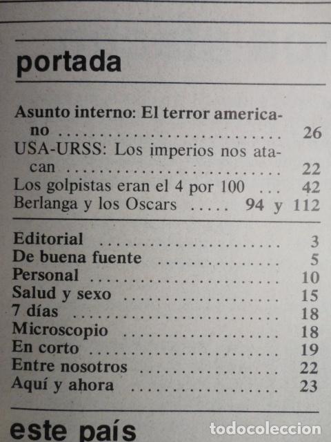 Coleccionismo de Revista Cambio 16: REVISTA CAMBIO 16 ,Nº 488 ,AÑO 1.981 - TERROR EN USA -LIQUIDAR A ETA -MADRID COGE LA BATUTA - Foto 2 - 70739197
