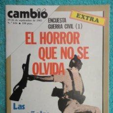 Coleccionismo de Revista Cambio 16: REVISTA CAMBIO 16 ,Nº 616 AÑO 1983 - EXTRA - LAS ESPAÑOLAS QUIEREN ABORTAR -MINI DIADA -ECONOMIA. Lote 70772173