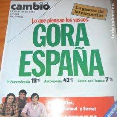 Coleccionismo de Revista Cambio 16: CAMBIO 16 Nº 502 DE 1981- VASCOS, MARCIAL LAFUENTE ESTEFANIA, SERRAT, VICTOR MANUEL Y MIGUEL RIOS,.. Lote 100971847