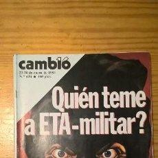 Coleccionismo de Revista Cambio 16: REVISTA CAMBIO 16. NÚMERO 634. ENERO 1984. ¿QUIÉN TEME A ETA MILITAR? ESPECIAL TERRORISMO. Lote 104394371