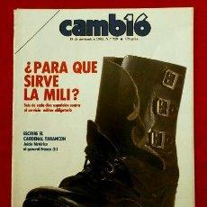 Coleccionismo de Revista Cambio 16: PARA QUE SIRVE LA MILI (18-NOV-1985) REPORTAJE SOBRE EL SERVICIO MILITAR OBLIGATORIO - HOJAS SUELTAS. Lote 115704343