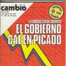 Coleccionismo de Revista Cambio 16: REVISTA CAMBIO 16 Nº 661 AÑO 1984. LIBERACION RUIZ MATEOS. VACACIONES DE PASTORA VEGA. . Lote 119913623