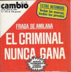 Coleccionismo de Revista Cambio 16: REVISTA CAMBIO 16Nº 595 AÑO 1983. PRAGA DE AMILANA.EXTRA AUTOMOVIL. TESTIMONIO CONTRA EL ALMIRON.. Lote 119994979
