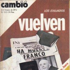 Coleccionismo de Revista Cambio 16: REVISTA CAMBIO 16 Nº 222 AÑO 1976. LOS EXILIADOS VUELVEN. MADRID-BARCELONA: ALCALDES, FUERA. . Lote 121126879