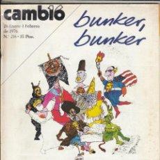 Coleccionismo de Revista Cambio 16: REVISTA CAMBIO 16 Nº 216 AÑO 1976. BUNKER, BUNKER. . Lote 121127603