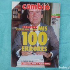 Coleccionismo de Revista Cambio 16: MIS 100 ERRORES RUIZ MATEOS 1.986. Lote 125094995
