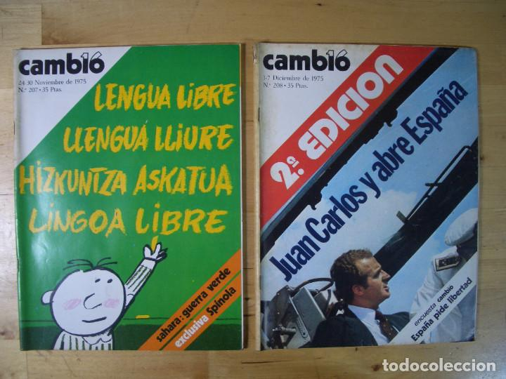 Coleccionismo de Revista Cambio 16: REVISTA CAMBIO 16 - LOTE 7 REVISTAS - Noviembre Diciembre 1975 - TRANSICIÓN - Foto 3 - 143215906