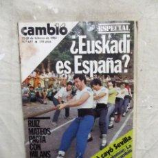 Collectionnisme de Magazine Cambio 16: REVISTA CAMBIO 16 - ESPECIAL ¿ EUSKADI ES ESPAAÑA ? Nº 637 / 13 - 20 DE FEBRERO DE 1984. Lote 143743662
