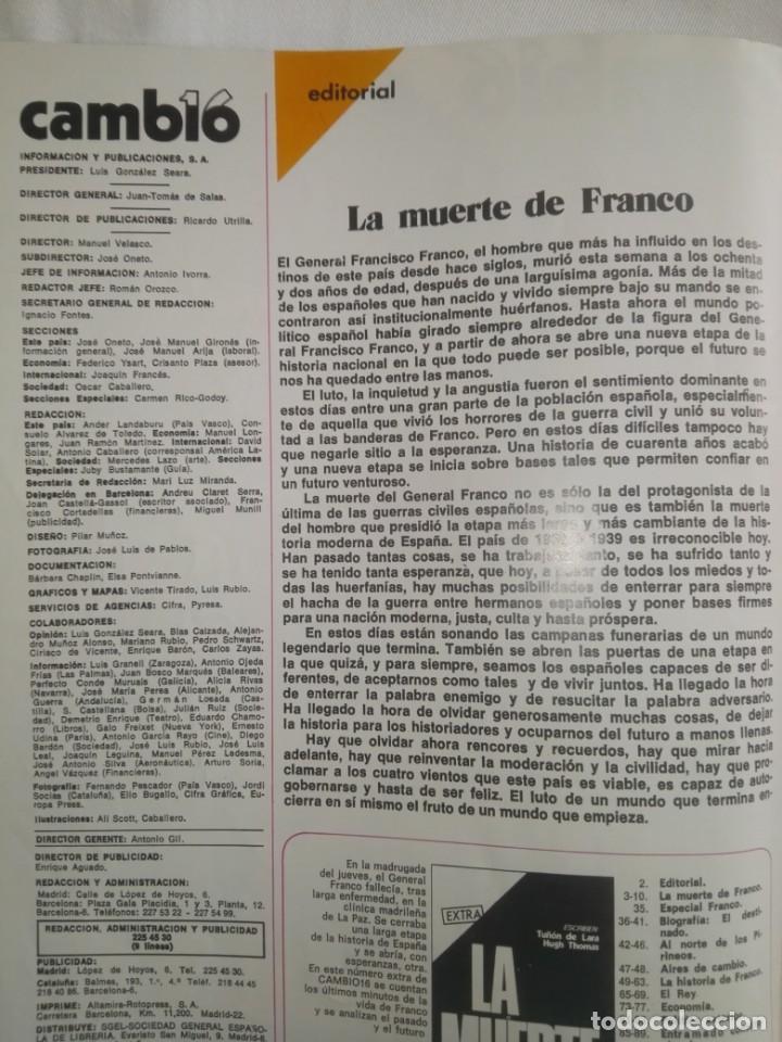 Coleccionismo de Revista Cambio 16: CAMBIO ´16 : LA MUERTE . ESPECIAL MUERTE DE FRANCO , NOVIEMBRE 1975 - Foto 3 - 153347922