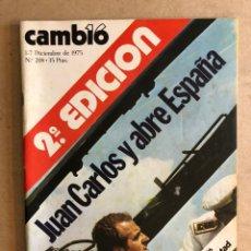 Coleccionismo de Revista Cambio 16: CAMB16 N°208 (DICIEMBRE, 1975). JUAN CARLOS Y ABRE ESPAÑA.. Lote 168397841