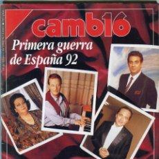 Coleccionismo de Revista Cambio 16: REVISTA CAMBIO 16 Nº 1055.-DIVOS A LA GREÑA-J. CARRERAS - A. KRAUS - ARAGALL- M. CABALLE -10/2/1992. Lote 172187732