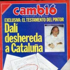 Coleccionismo de Revista Cambio 16: CAMBIO 16 Nº 897 -DALI DESHEREDA CATALUÑA 6 PAG.10 FOTOS - YASER ARAFAT - PACO RABAL -.FEBRERO 1989. Lote 173168525