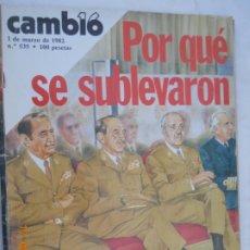 Coleccionismo de Revista Cambio 16: CAMBIO , REVISTA Nº 535,POR QUE SE SUBLEVARON / 1 DE MARZO DE 1982. Lote 174095334