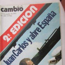 Coleccionismo de Revista Cambio 16: CAMBIO 16 REVISTA Nº 208 1-12-1975 JUAN CARLOS Y ABRE ESPAÑA . Lote 180201845