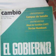 Coleccionismo de Revista Cambio 16: CAMBIO 16 REVISTA Nº 224 MARZO 1976 - EL GOBIERNO SE ROMPE . Lote 180202006