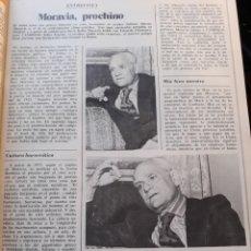 Coleccionismo de Revista Cambio 16: ENTREVISTA A ALBERTO MORAVIA. AÑO 1975. HOJA.. Lote 194113792