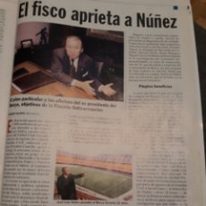 Coleccionismo de Revista Cambio 16: EL FISCO APRIETA A NUÑEZ , EX PRESIDENTE DEL BARCELONA AÑO 2001 . HOJA. Lote 194234353