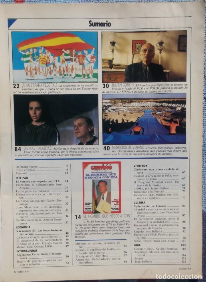 Coleccionismo de Revista Cambio 16: Revista Cambio 16, Nº 823, 7 de septiembre 1987 /// VANGUARDIA BLANCO NEGRO DESTINO ÉPOCA GACETA - Foto 3 - 197911107