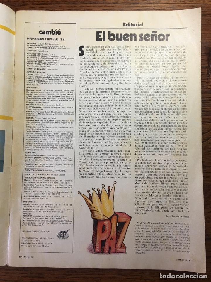 Coleccionismo de Revista Cambio 16: REVISTA CAMBIO 16 EL TESTAMENTO DE TARRADELLAS PRESIDENTE 1980(OLIMPÍADAS) - Foto 7 - 204770746