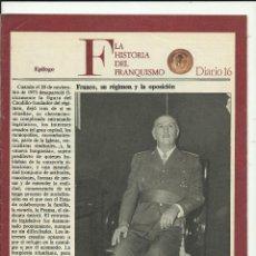 Coleccionismo de Revista Cambio 16: HISTORIA DEL FRANQUISMO DIARIO 16 EPILOGO. Lote 211584771