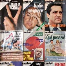 Coleccionismo de Revista Cambio 16: LOTE 9 REVISTAS CAMBIO 16 1977 A 1981 - PORTADA CARLOS Y DIANA GALES ESPECIAL NAVIDADES. Lote 225638846