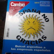 Coleccionismo de Revista Cambio 16: REVISTA CAMBIO16 N° 1543 . 2 JULIO 2001 ESPAÑA NO GRACIAS BOICOT ARGENTINO A LAS EMPRESAS ESPAÑO. Lote 235342655