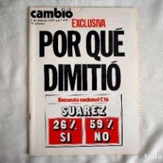 Coleccionismo de Revista Cambio 16: FEBRERO DE 1981 - CAMBIO 16 - DIMISIÓN DE ADOLFO SUÁREZ. Lote 243048130