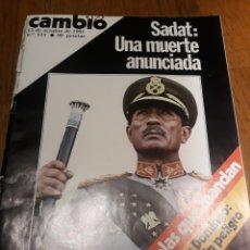Coleccionismo de Revista Cambio 16: REVISTA CAMBIO 16 .OCTUBRE 1981 SADAT UNA MUERTE ANUNCIADA. - SARA MONTIEL ,REPORTAJE 4 PAGINAS. Lote 245240360