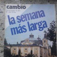 Coleccionismo de Revista Cambio 16: TRANSICION FRANCO EXTREMADAMENTE GRAVE. PORTADA Y 24 PAGINAS RECORTE CAMBIO 16 NOVIEMBRE 1975. Lote 246566455