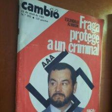 Coleccionismo de Revista Cambio 16: CAMBIO 16. 593. ABRIL DE 1983. SECUESTRADA POR LA AUTORIDAD. GRAPA. BUEN ESTADO PERO MANCHADA ABAJO. Lote 261949660