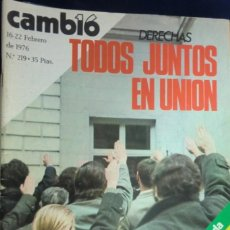 Coleccionismo de Revista Cambio 16: REVISTA CAMBIO 16 DERECHAS. TODOS JUNTOS EN UNIÓN. ETA: A LA DESCABELLADA. FEBRERO 1976. Lote 262252800