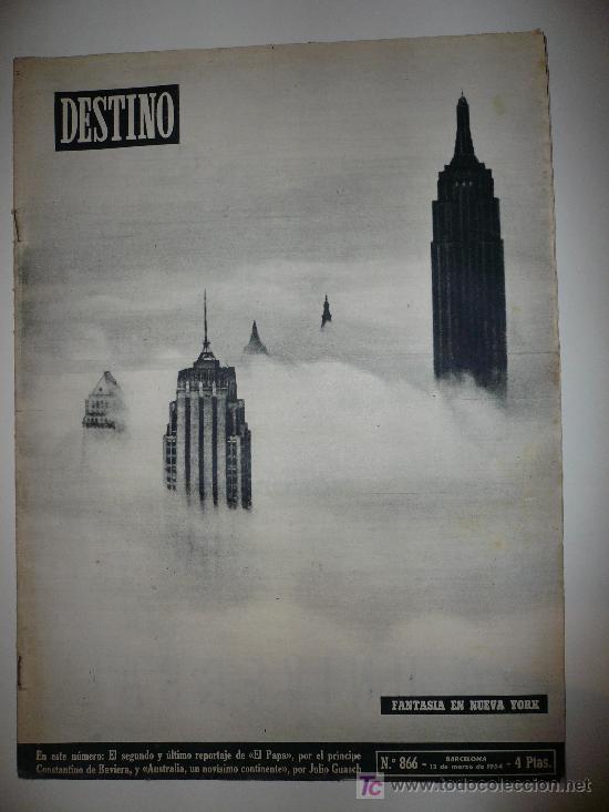 REVISTA DESTINO * Nº 866 * AÑO 1954 (Coleccionismo - Revistas y Periódicos Modernos (a partir de 1.940) - Revista Destino)